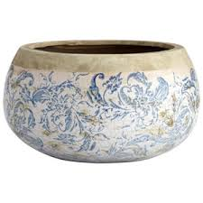 blue and white toile planters including oriental furniture cyan