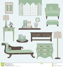 living room furniture and accessories in color tea stock vector