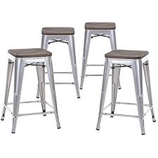 Metal Bar Stools With Wood Seat Amazon Com Decenthome 24 Inches Height Metal Frame Stackable