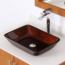 Stone Sinks Kitchen by Elite 1407 Rectangle Artistic Bronze Tempered Glass Vessel Sink