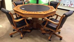 Poker Table Pedestal Reversible Top Oak Pedestal Poker Table 4 Chairs Sold 1 200
