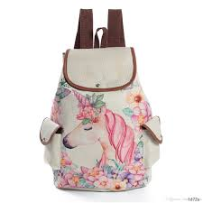 Fresh Design Cute Unicorn Printing Linen Backpacks Teenage Girls