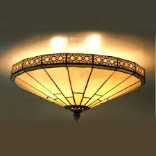 Stained Glass Ceiling Light Green Mission Pattern 16 Inch Flush Mount Ceiling Light In