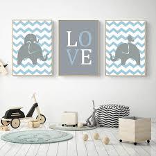 tableau deco chambre enfant décoration poster toile éléphant éléphanteau garçon trendisy