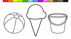 learn colors for kids and color this ice cream beach coloring page