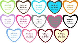 etiquettes mariage etiquettes coeur dragéees personnalisées mariage autocollante