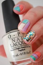 sarah lou nails pastel color block nails
