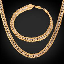 gold tone necklace set images Buy men two tone cuban chain bracelet and jpg
