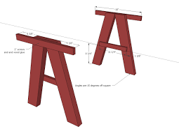 wooden table leg ideas diy wood trestle desk plans painted with red color ideas
