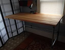 furniture beautiful butcher block top desk with iron legs