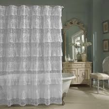 decorations layered ruffle lace sheer shower curtain design for