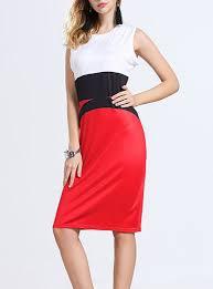 length dress white top short sleeves red skirt black belt