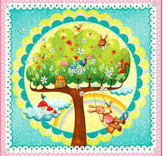 cotton quilt fabric rainbow woodland 24 baby quilt panel birds