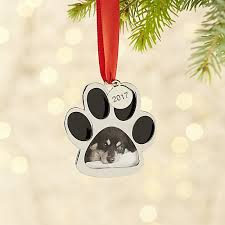 silver paw print ornament frame with 2017 charm crate and barrel