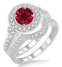 ruby rings sale images 1 5 carat ruby diamond antique halo bridal set engagement ring jpg
