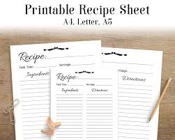 free printable recipe pages recipe sheet printable recipe page template blank recipe