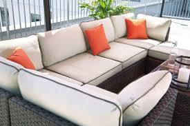 Outdoor Sectional Sofa Renway Beige Brown Outdoor Sectional Sofa With Table Ottoman Umbrella