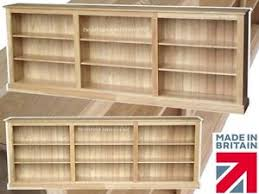 solid oak low bookcase 3ft tall x 8ft long display shelving unit