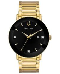 gold tone stainless steel bracelet images Bulova men 39 s diamond dress diamond accent gold tone stainless tif