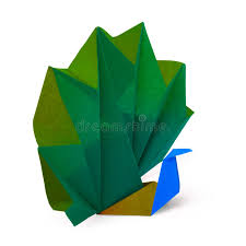Origami Pets - paper peacock stock photo image of folded pets 34443386