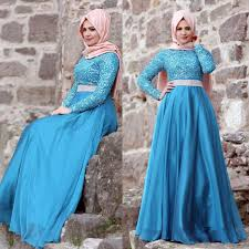 Muslim Engagement Dresses Aliexpress Com Buy Champagne Blue Long Sleeve Sequined Chiffon