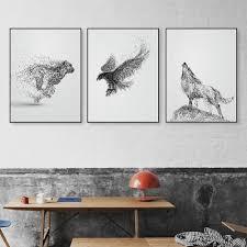 2017 black white ink wild animal horse eagle wolf poster nordic
