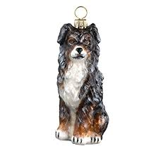 blue merle australian shepherd blown glass