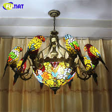 Stained Glass Light Fixtures Dining Room Fumat Parrots Chandelier European Vintage Glass Light Living Room