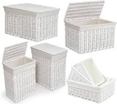 Container Store Laundry Hamper by Large Medium White Wicker Laundry Rectangular Basket W Lid Hamper