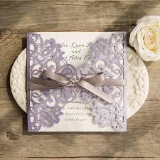 lavender wedding invitations lavender laser cut wedding invitations with grey ribbon