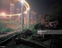 elevated roads encroaching farmhouses chongqing stock photo