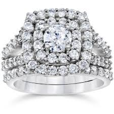 2 carat white gold engagement ring 2 carat cushion halo engagement wedding ring set white gold