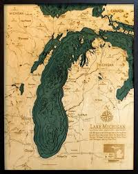Topographic Map Of Michigan by Custom Wood Charts Of Lake Michigan From Carved Lake Art Nautical