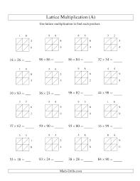 multiplication worksheet lattice multiplication two digit by