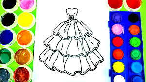 barbie beautiful dress coloring page watercolor paint learn to