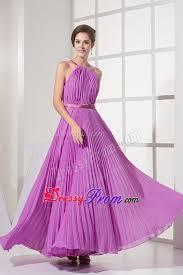 pleats sash ankle length chiffon lavender prom bridesmaid dress