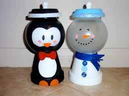 penguin and snowman holiday candy jars christmas created by