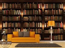 living room cafe custom modern 3d wallpaper mural bookshelf bookcase candle tv sofa