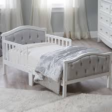Dimensions Of Toddler Bed Orbelle Upholstered Toddler Bed Gray French White Walmart Com