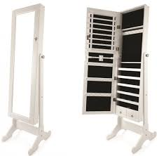 full length jewelry cabinet with mirror white 132 x 48 x 17 cm