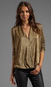 metallic blouse sam lavi wynter blouse in metallic gold knit revolve