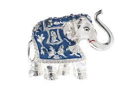 Porcelain Elephant Silver Plated White Metal Elephant Idol Minar Jewellers