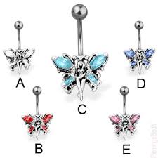 butterfly belly button ring piercings jewelry