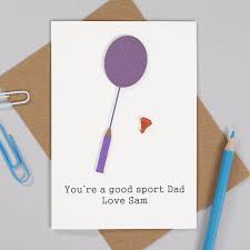 personalised badminton birthday card for him by bombus