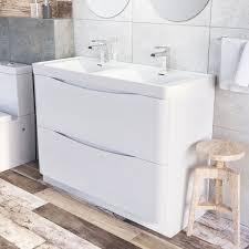 erin floor standing 1200 vanity unit u0026 basin gloss white easy