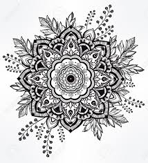 hand drawn ornate flower in the crown of leaves and sticks