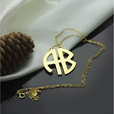 monogram initial necklace gold 18k gold plated 2 letters capital monogram necklace