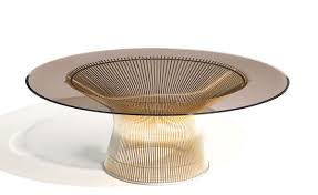 Wire Coffee Table Platner Gold Plated Coffee Table 36 Dia Hivemodern