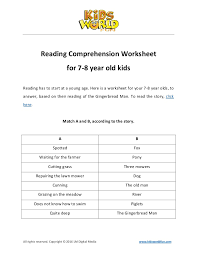 reading comprehension worksheet for 7 8 years old kids