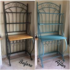 Cheap Bakers Rack Bakers Rack Makeover Using Chalky Finish Paint In French Teal
